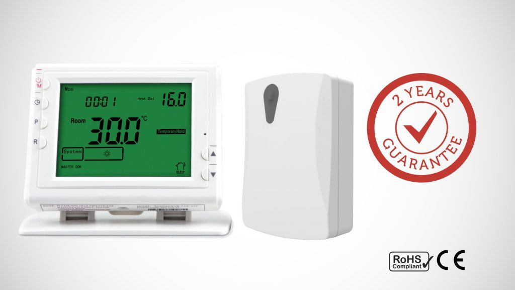 Infracomfort programmable thermostat and receiver set