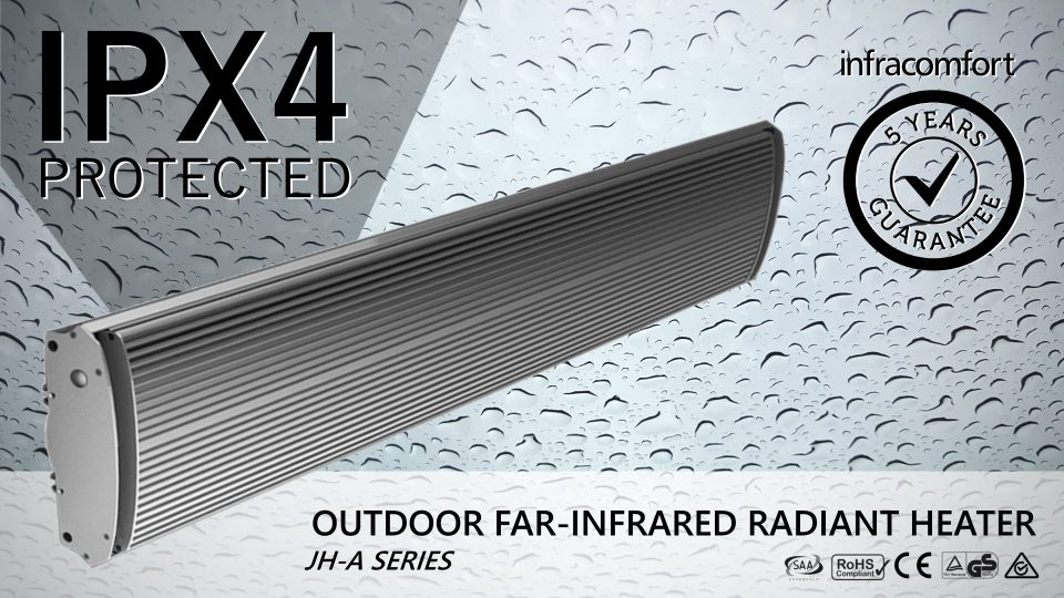 JH-A Series Infracomfort infrared outdoor radiant heater with IPX4 moisture protection