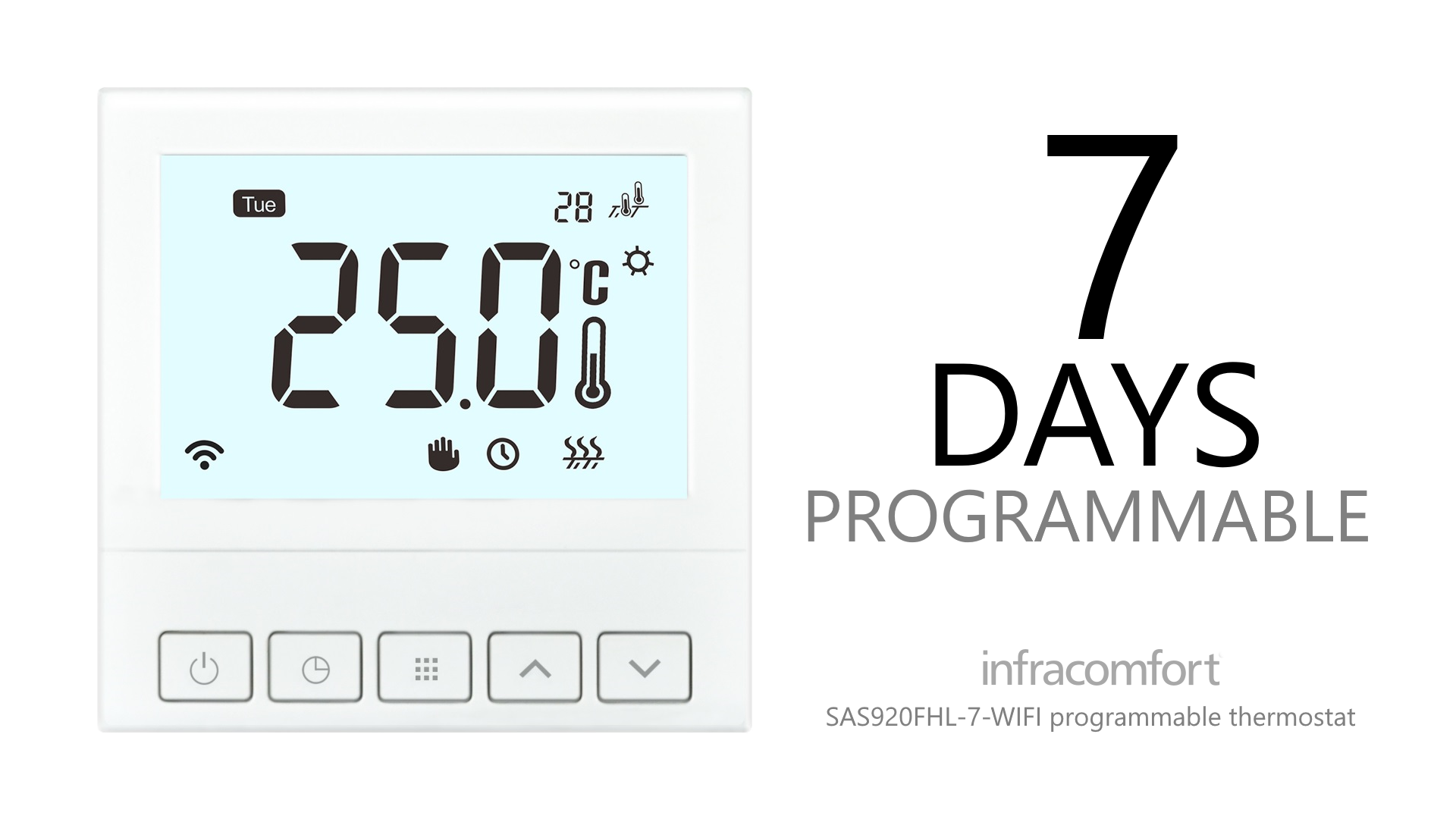 SAS920FHL-7-WIFI is a 7-day programmable Wi-Fi thermostat